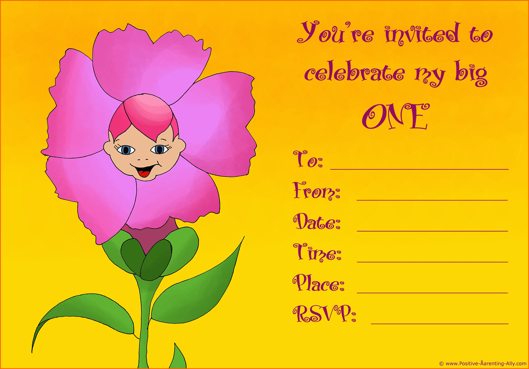 Printable 1st birthday invitation for girls to print featuring a cute little baby as a flower.
