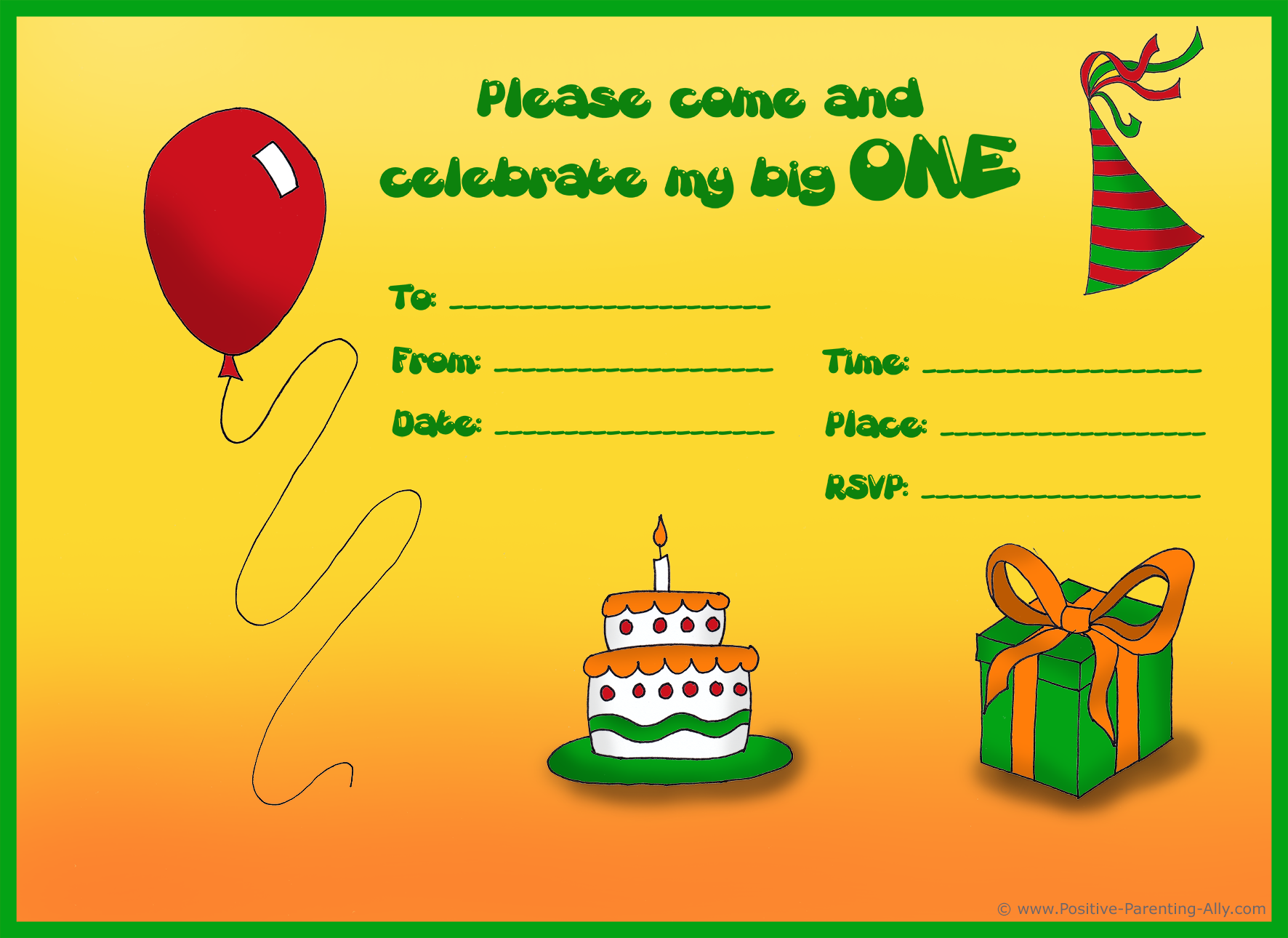 Finished birhday invitation example for 1st birthday.