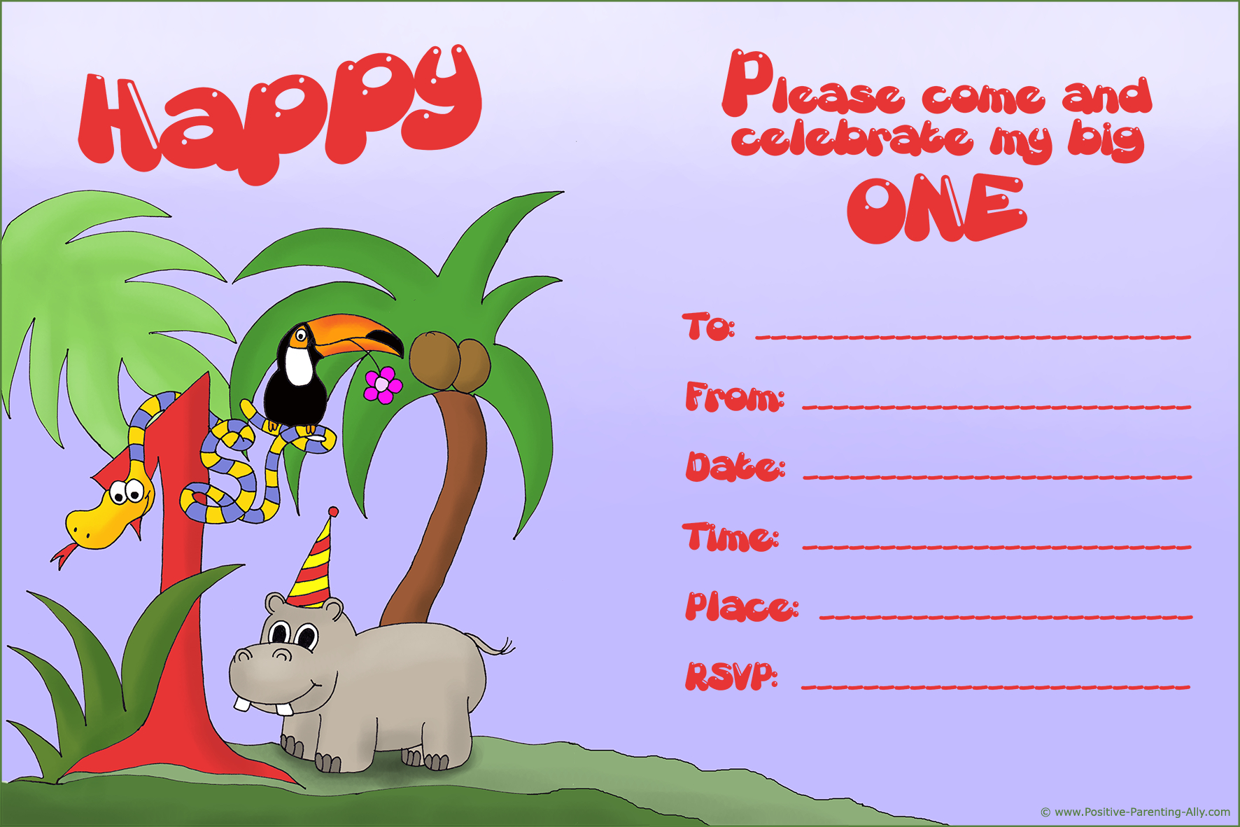 Printable 1st birthday invitation with jungle theme with a snake, hippo and tucano. Free and ready to print.