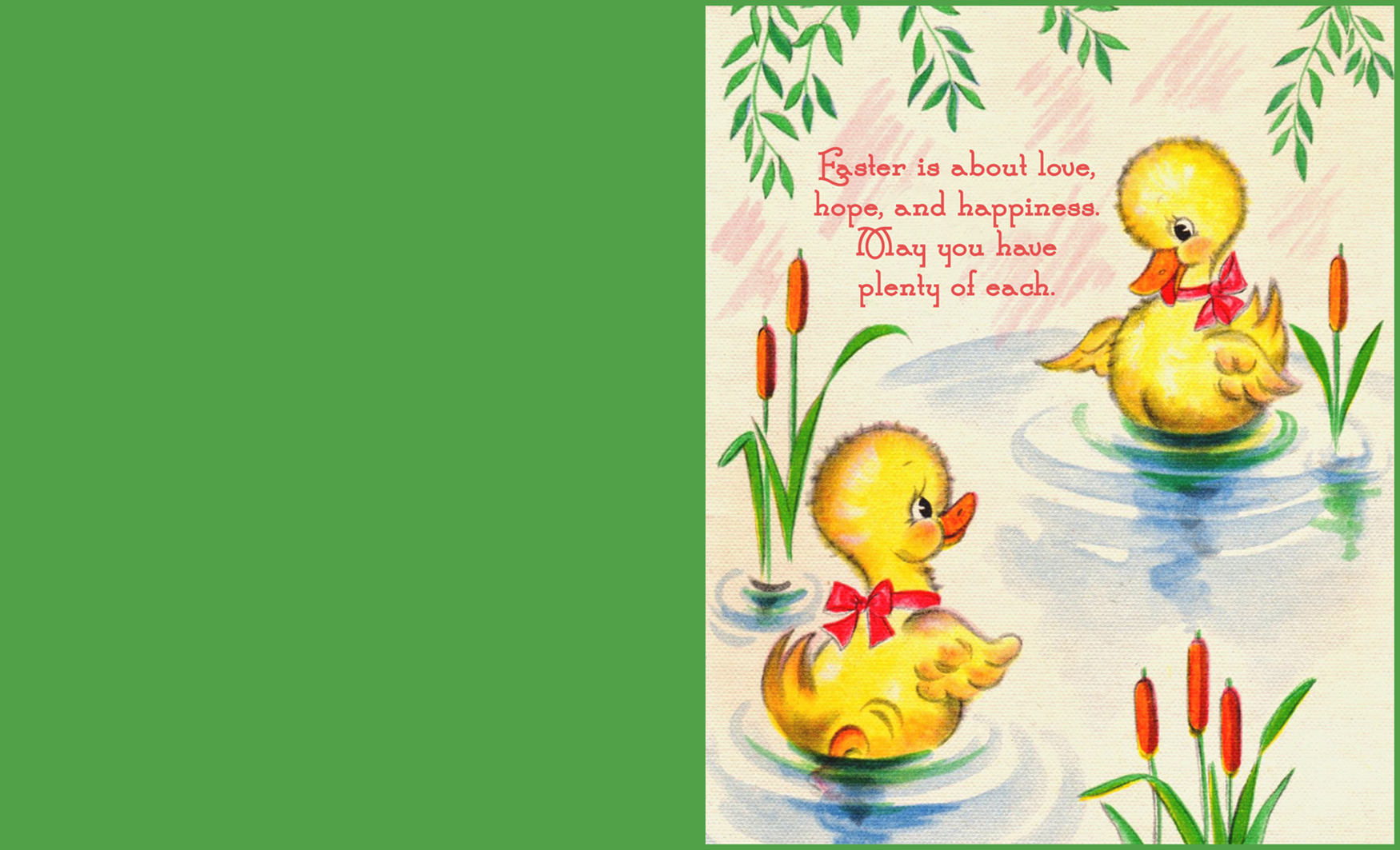 Printable Easter greeting card with two ducklings.