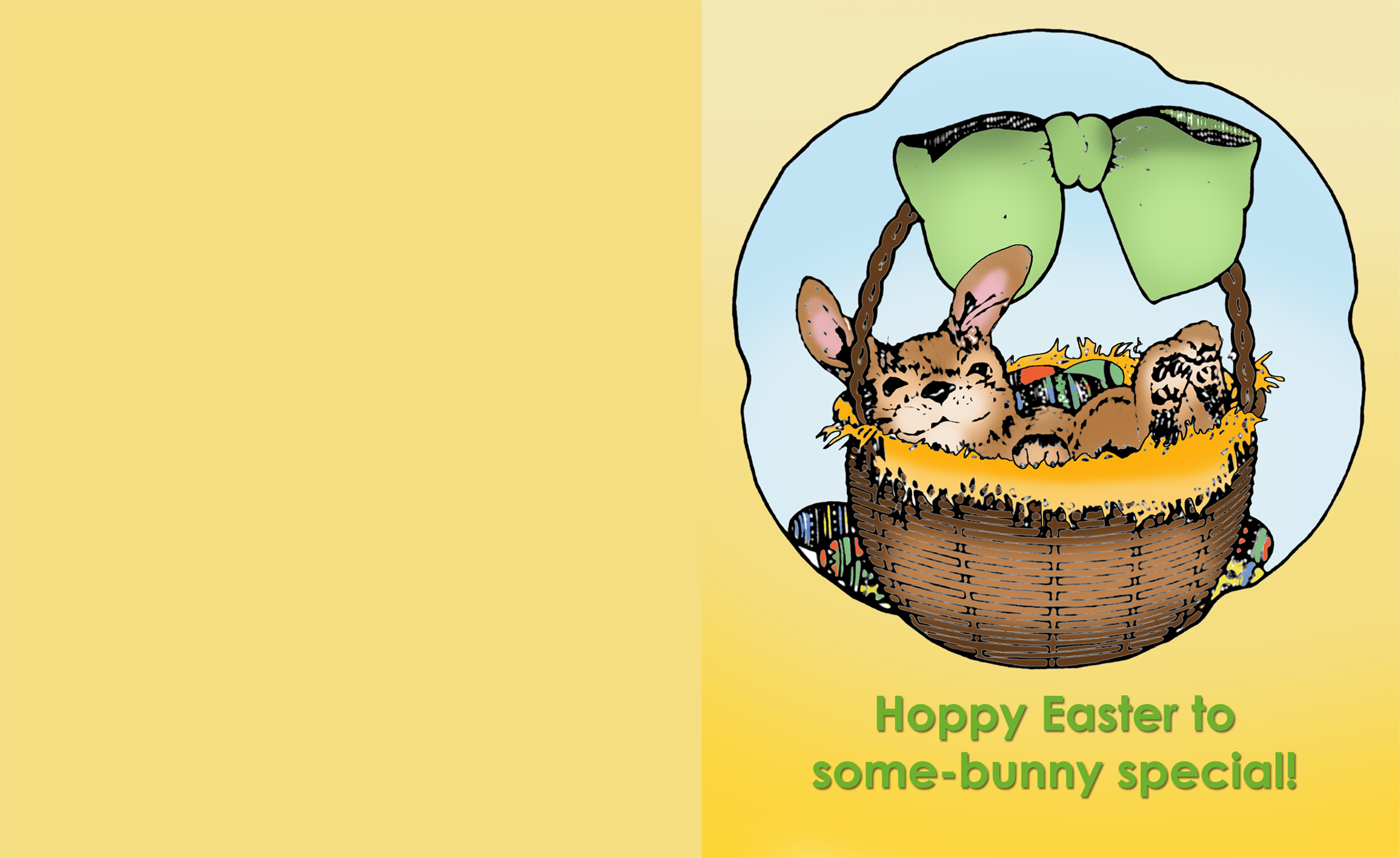 Cute Easter greeting card with a bunny in a basket.
