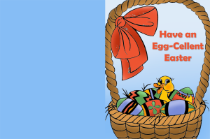 Free Easter card to print with a little duck and eggs.