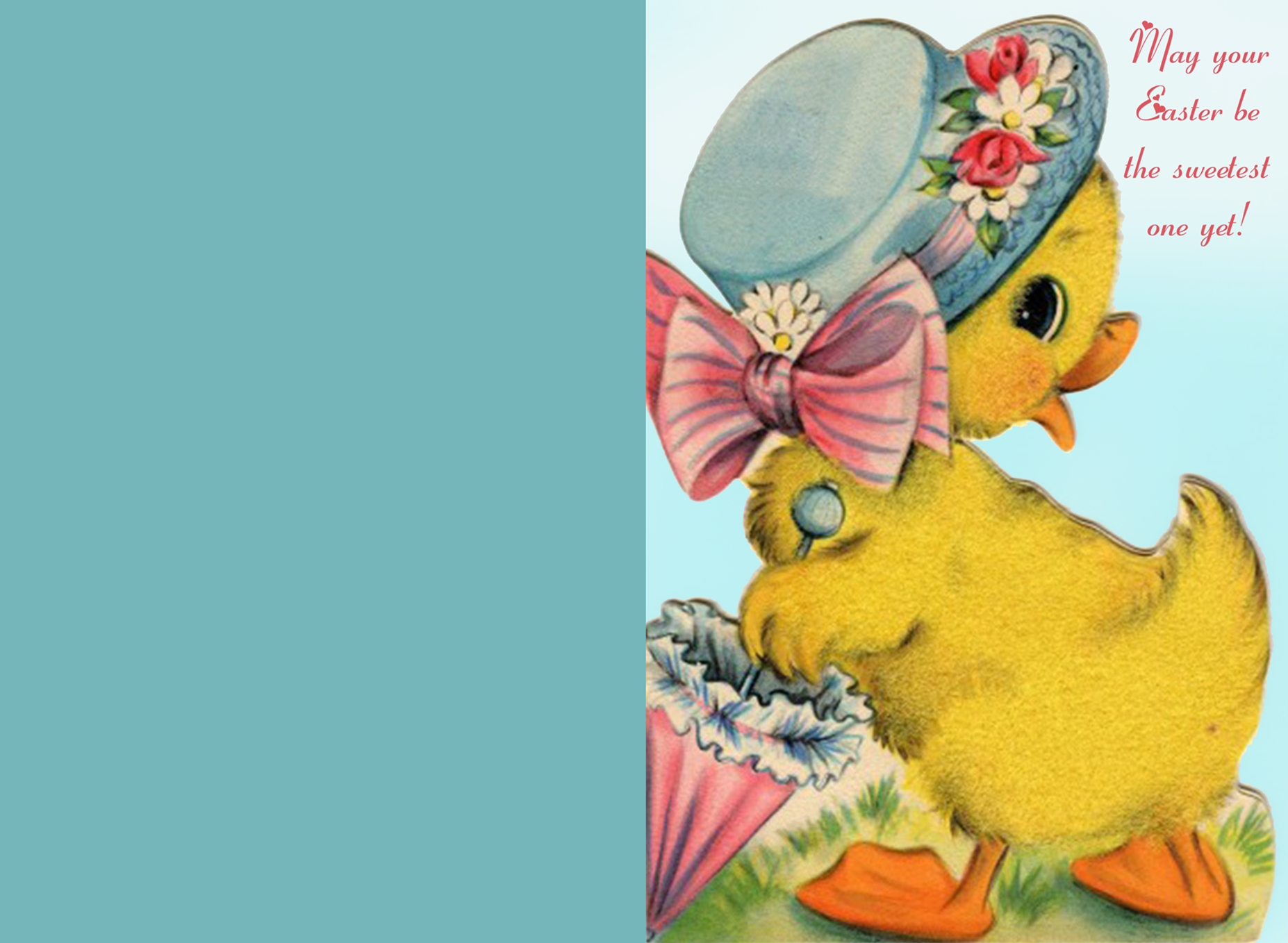 Cute printable easter card with yellow duckling.