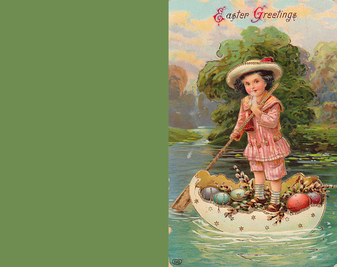 Adorable Easter greeting card with little boy on a river.