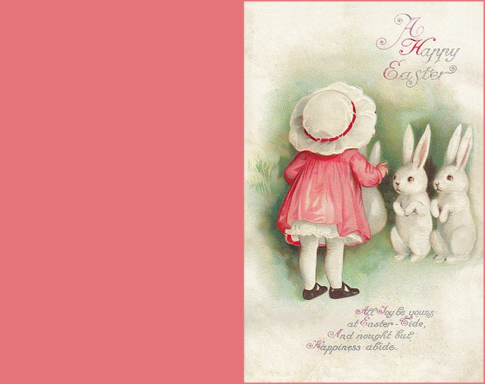 Printable Easter greeting card in vintage style.