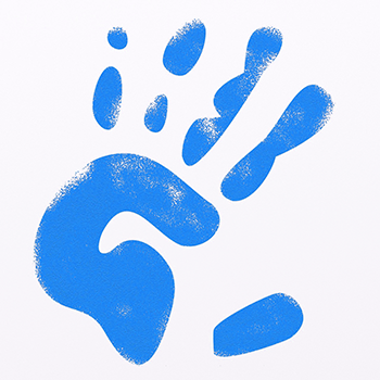 Blue handprint from child to use on birthday invitations.