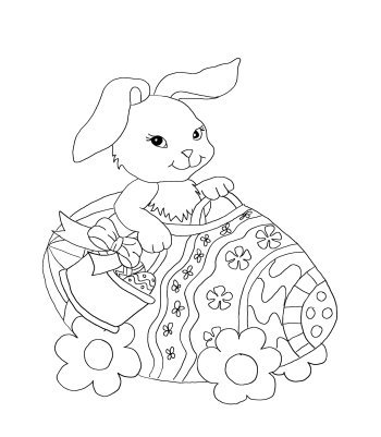 Cute Easter bunny in egg mobile. Coloring page for Easter.