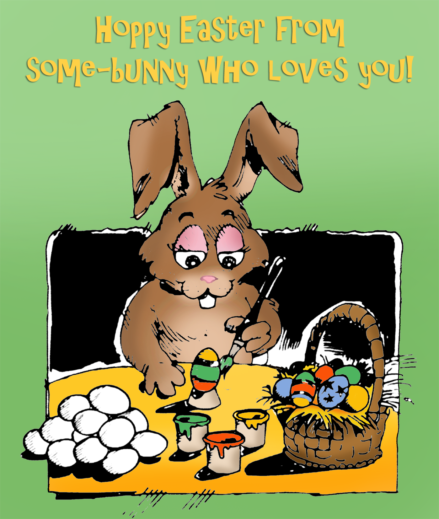 Cute Easter card for kids with the Easter bunny painting eggs.