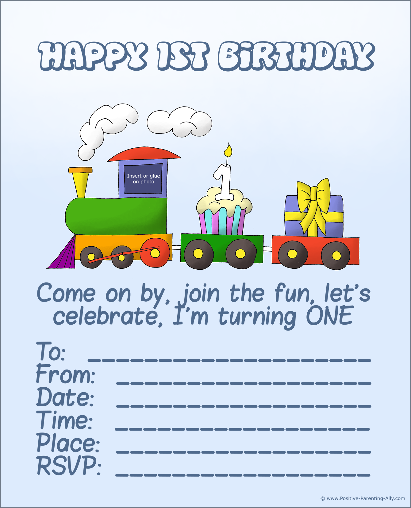 The first birthday invitation with a train with a cupcake and a present. Printable.