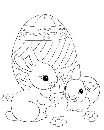 Easter coloring page: Two bunnies with a giant Easter egg.