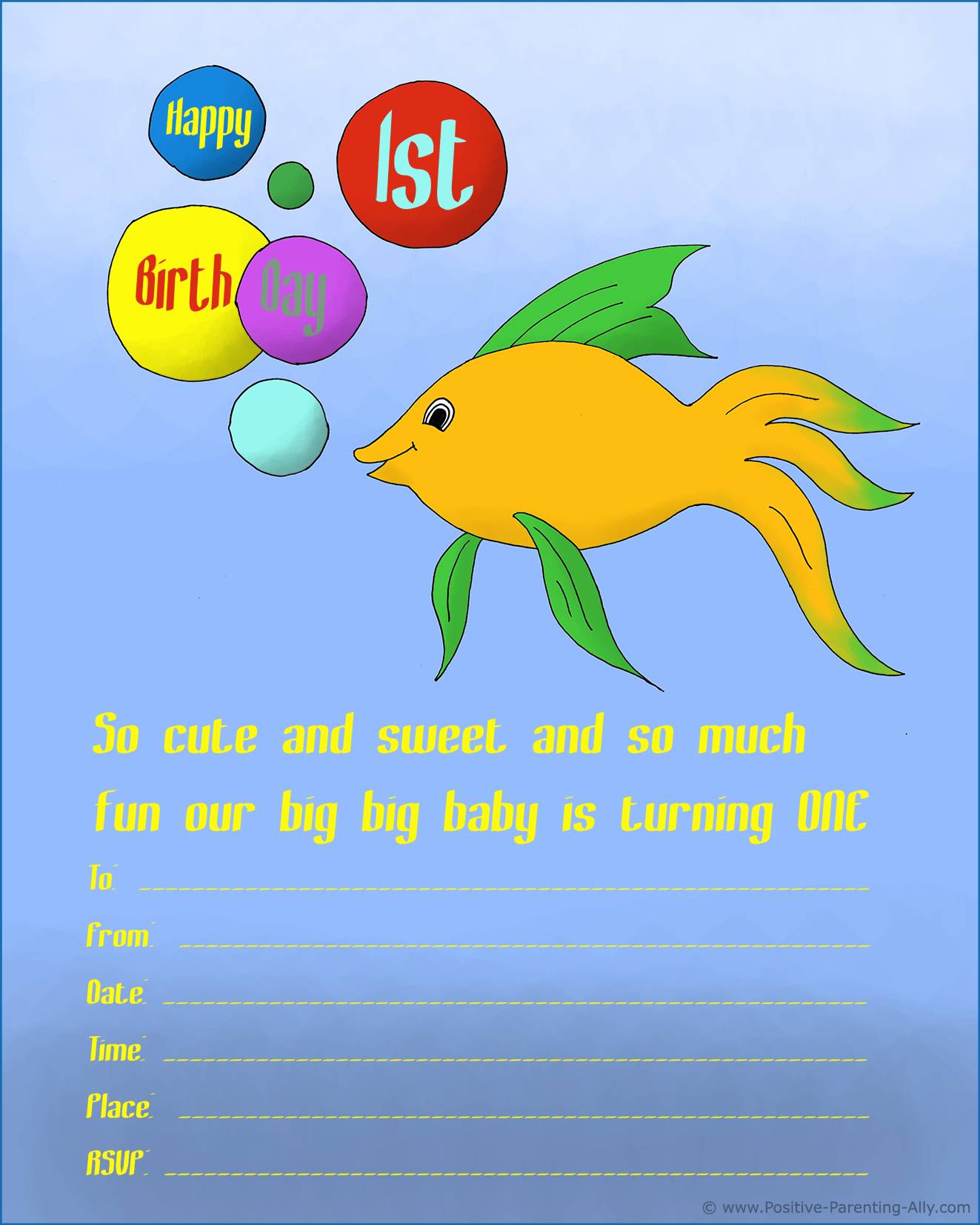 1st birthday invitations to print with animal themes: yellow fish with colorful bubbles wishing happy birthday.