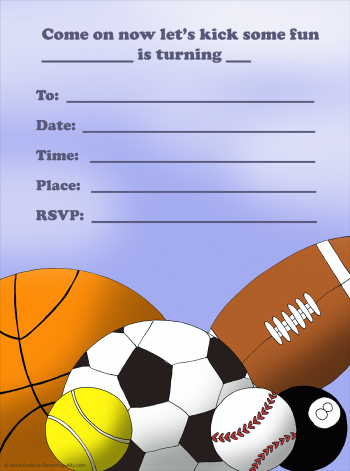 Sports balls free printable birthday invitations: football, basket ball, tennis ball, snooker ball, american football, baseball.