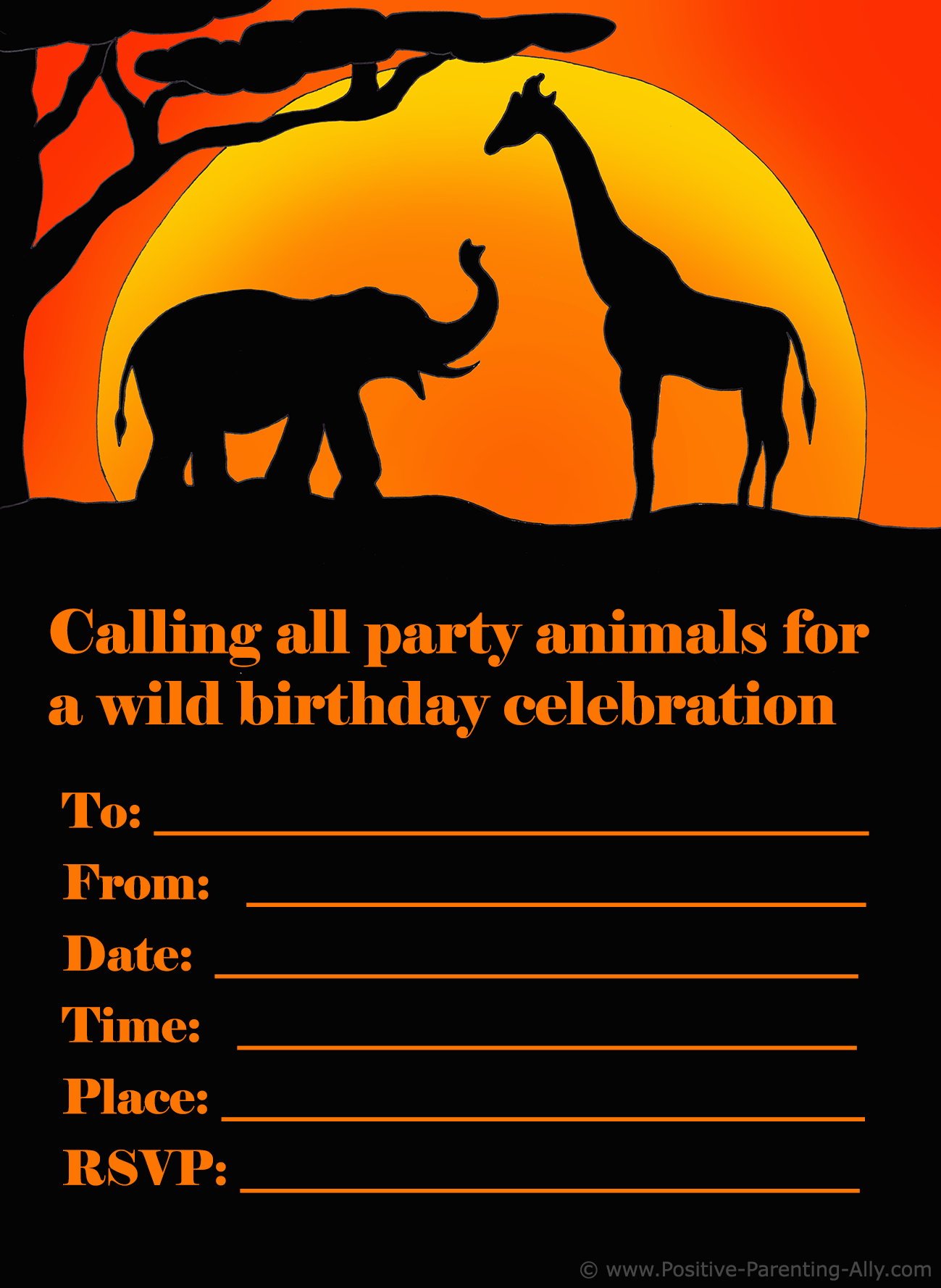 Printable kids birthday invite with African safari theme. An elephant and giraffe silhouette.
