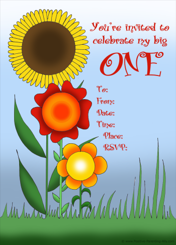 Printable birthday flower invitation for first birthday: Glue in photos of your baby.