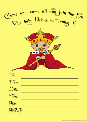 Printable birthday invitation with a baby prince in king's costume.