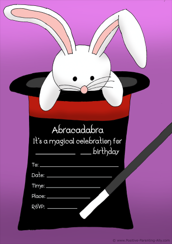 Magic themed birthday invitation for kids with cute bunny / rabbit in a black hat.