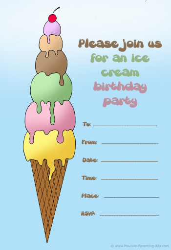 Ice cream birthday invitation to print.