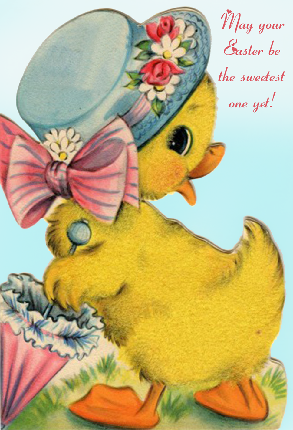 Free vintage Easter card with cute little duckling.