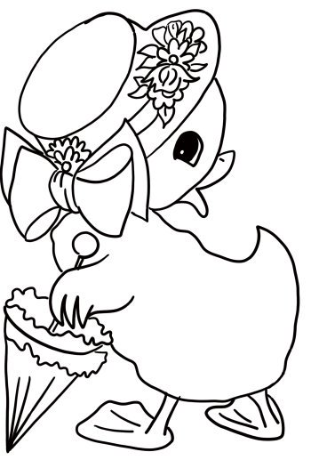 Easter coloring page: Cute duckling with hat and umbrella
