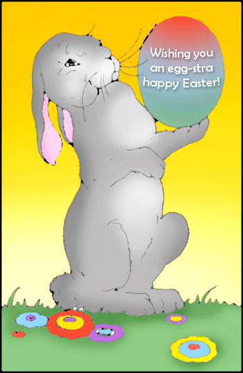 Easter postcard with bunny holding an Easter egg.