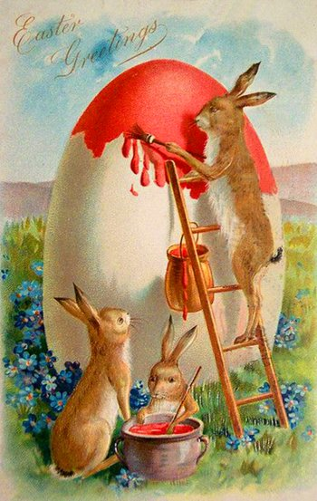 Free Easter greenting cards: Bunnies painting Easter egg.