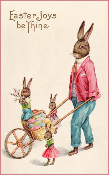 Easter bunnies with wheelbarrow on easter card.