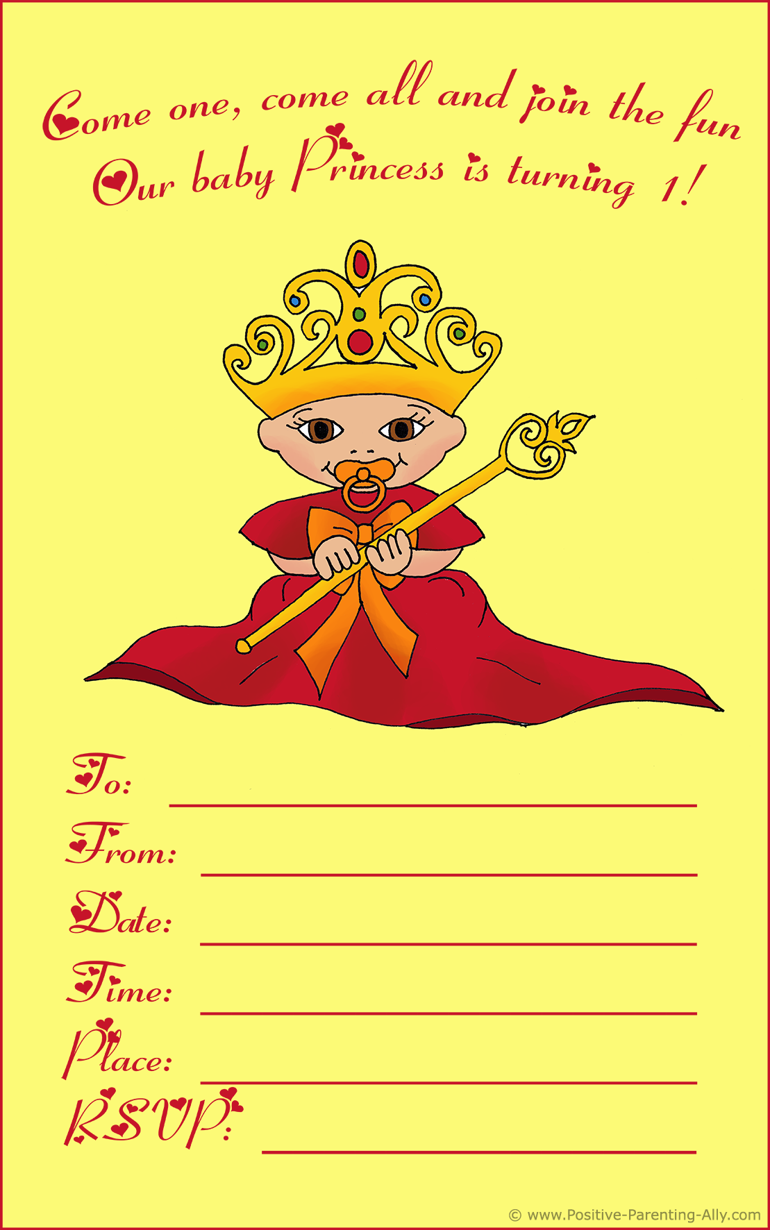 Printable birthday invite featuring a baby princess wearing a queen's robe and crown.