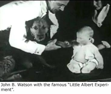 "John B Watson conducting the lab experiment ""Little Albert Experiement""."