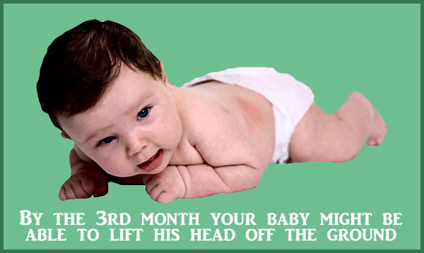 Physical milestone of the 3rd month: Baby with lots of dark hear on his belly lifting his head.