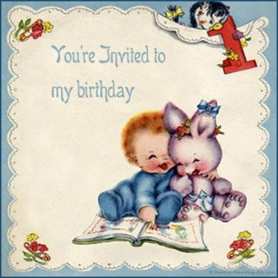 Vintage birthday invitation for first birthday with a cute baby boy reading a book with a rabbit.