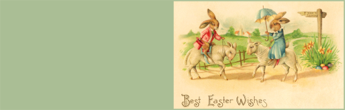 Happy Easter greeting card to print. Old vintage card.