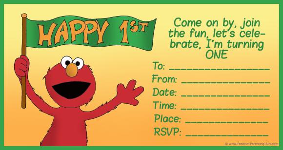 Elmo from Sesame Street on first birthday invitation.