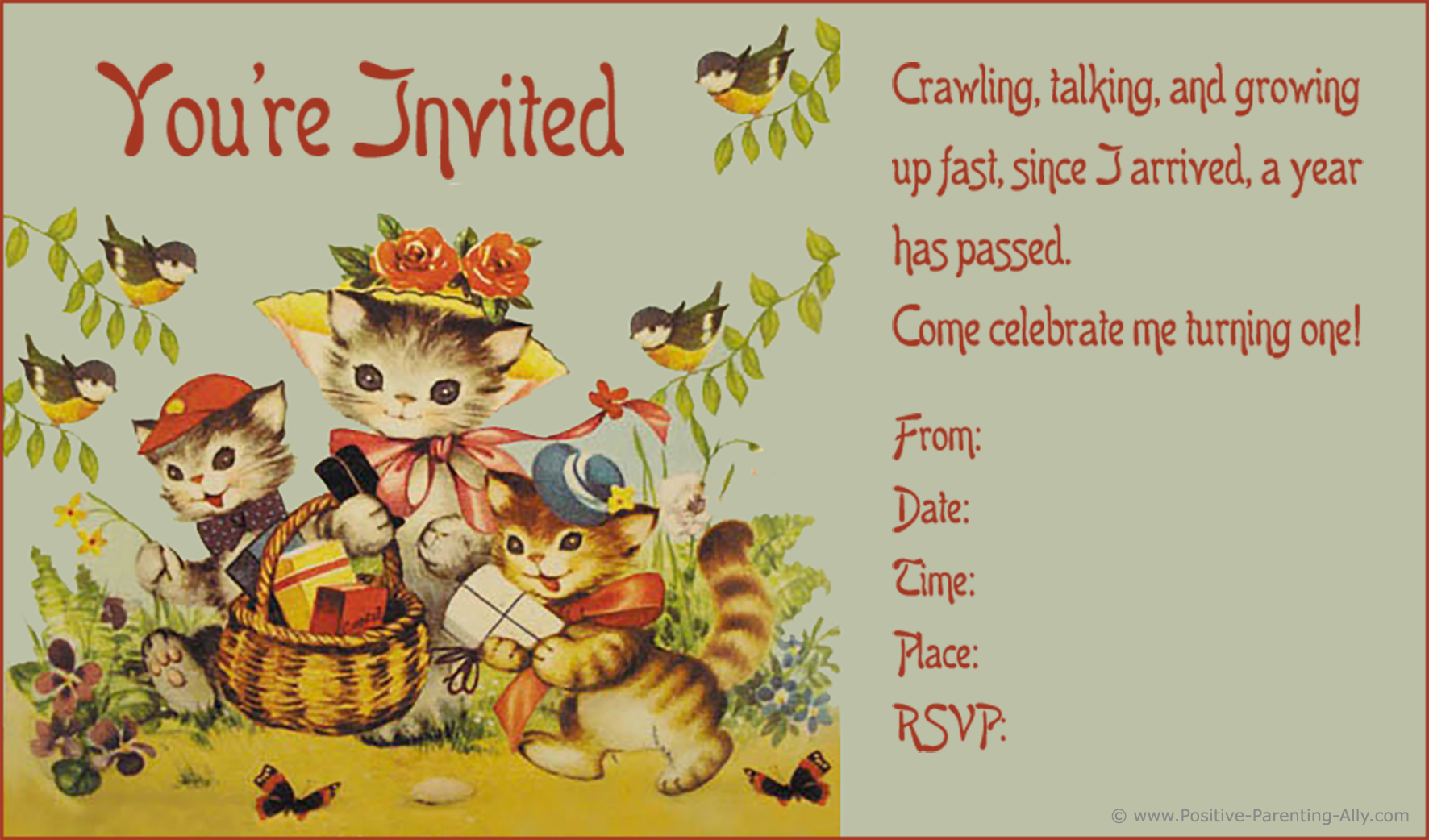 Cute vintage printable first birthday invitation with kittens and cats.