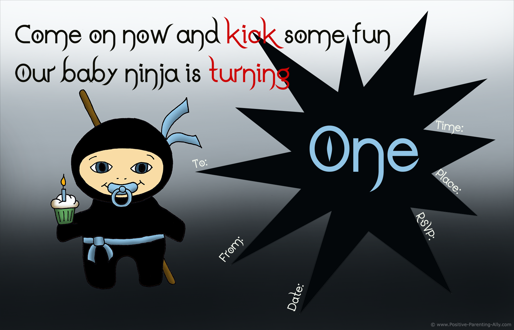 Cute and free printable baby birthday invitations with little boy ninja.