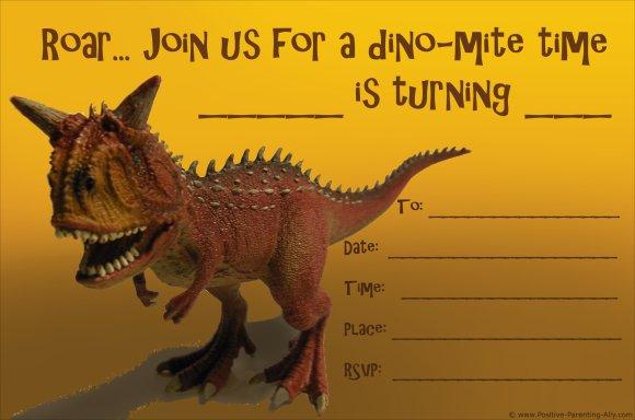 Printable dinosaur birthday invitations to print: a carnotaurus.