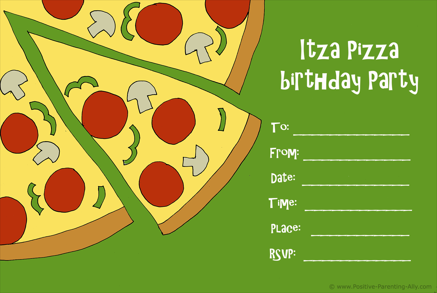 Printable pizza birthday party invitation.