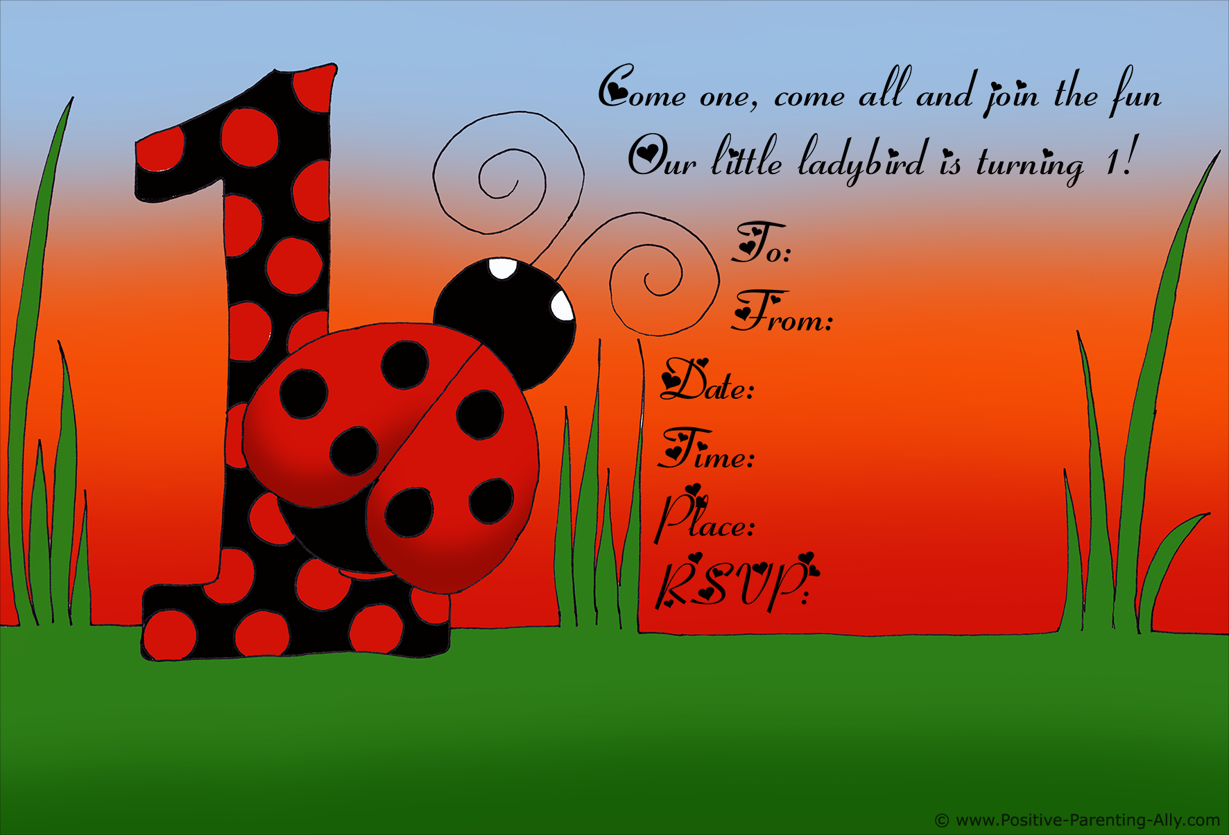 Sweet ladybird or ladybug birthday invitation to print.