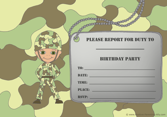 Printable and free birthday invitations: Cute little army soldier birthday invitation with camouflage theme and army tag.