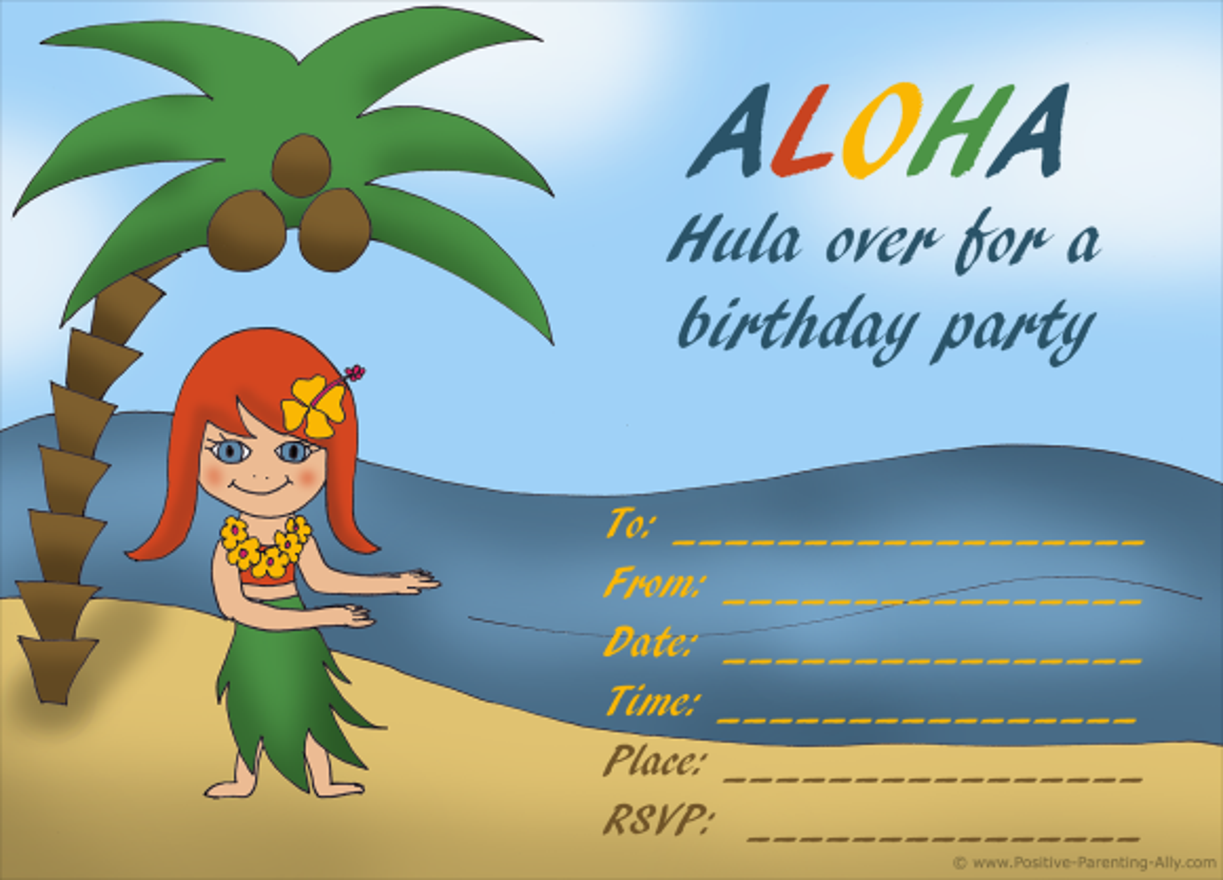 Hawaii hula girl birthday invitation.