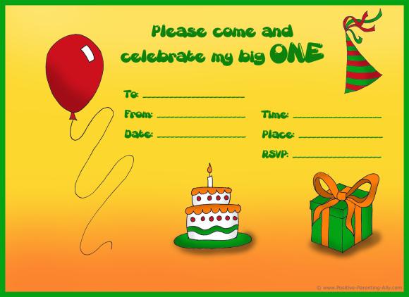Finished birhday invitation example for 1st birthday.