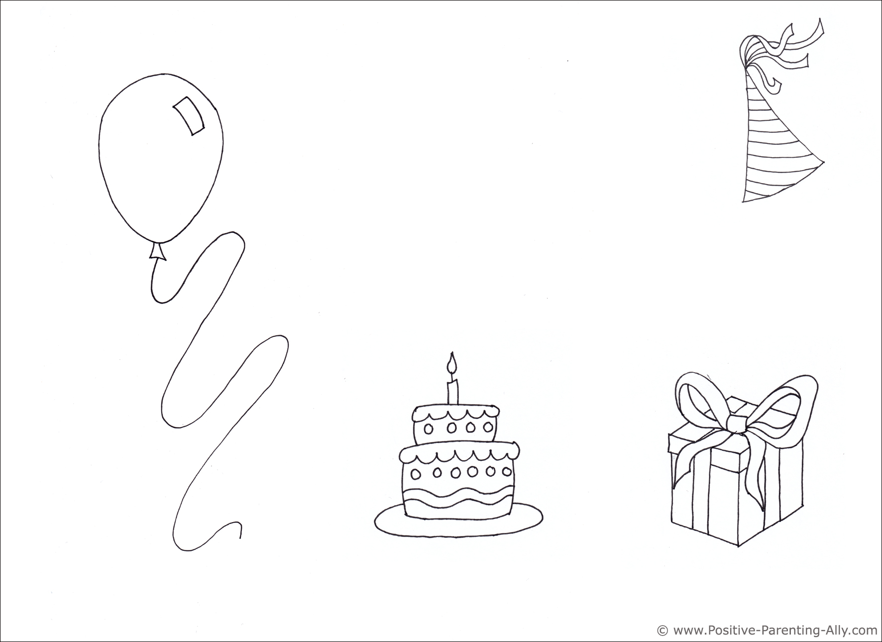Example of birthday invitation drawing with plenty of white space.