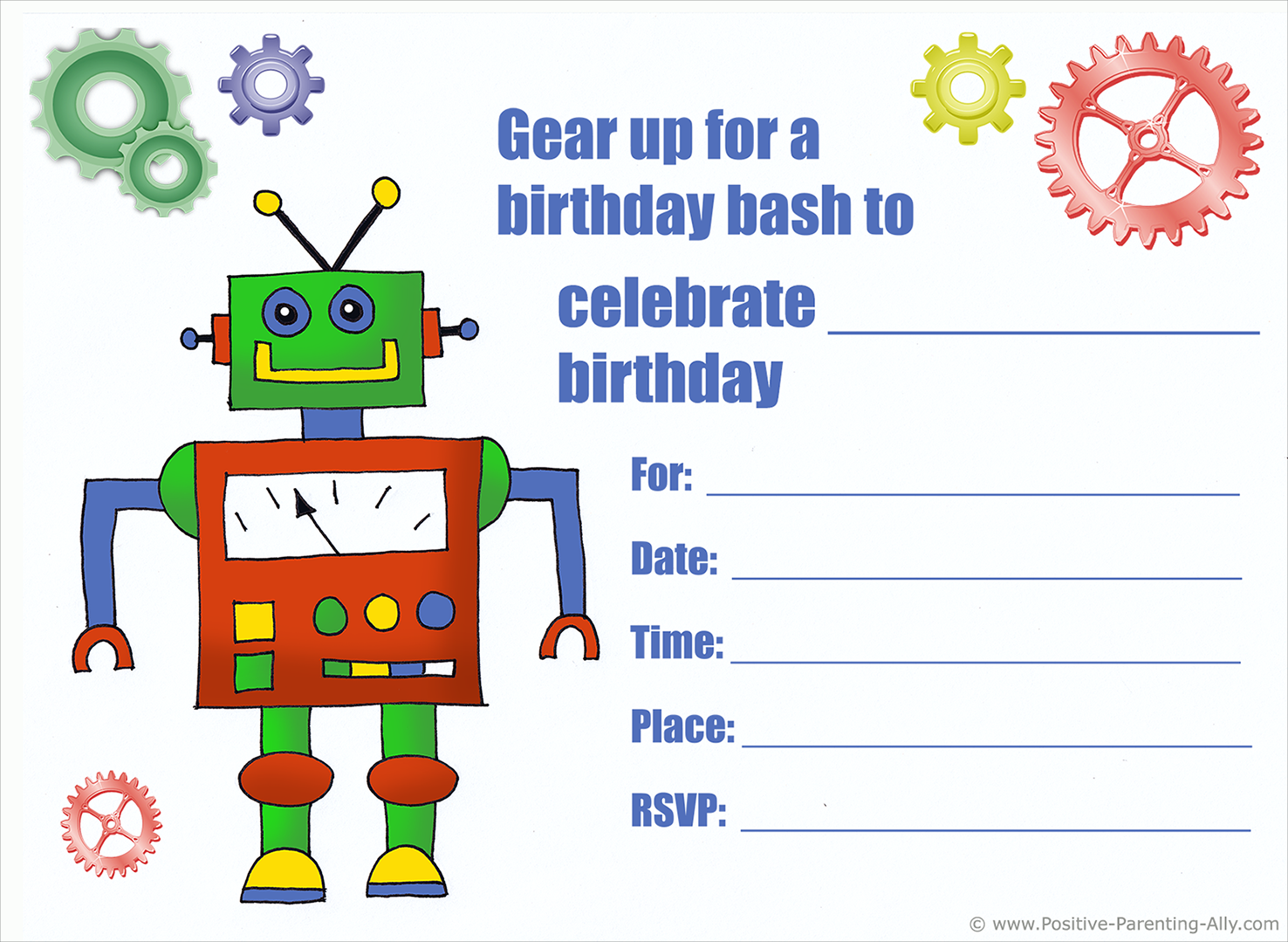 Free printable birthday invite with robot and cog wheels.