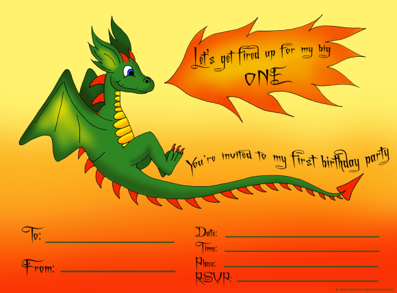 Printable first birthday party invitation for boys. A cute dragon spewing fire.