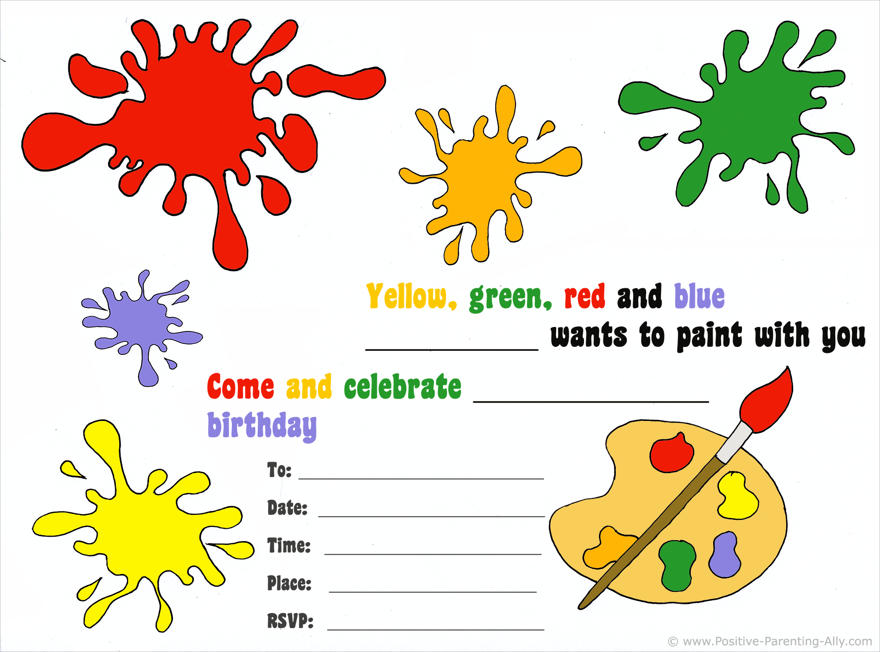 Free birthday invitations: Arts and crafts theme birthday party invite for kids.