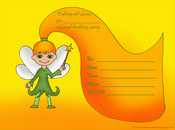 Fairy or pixie birthday invite to print for girls.