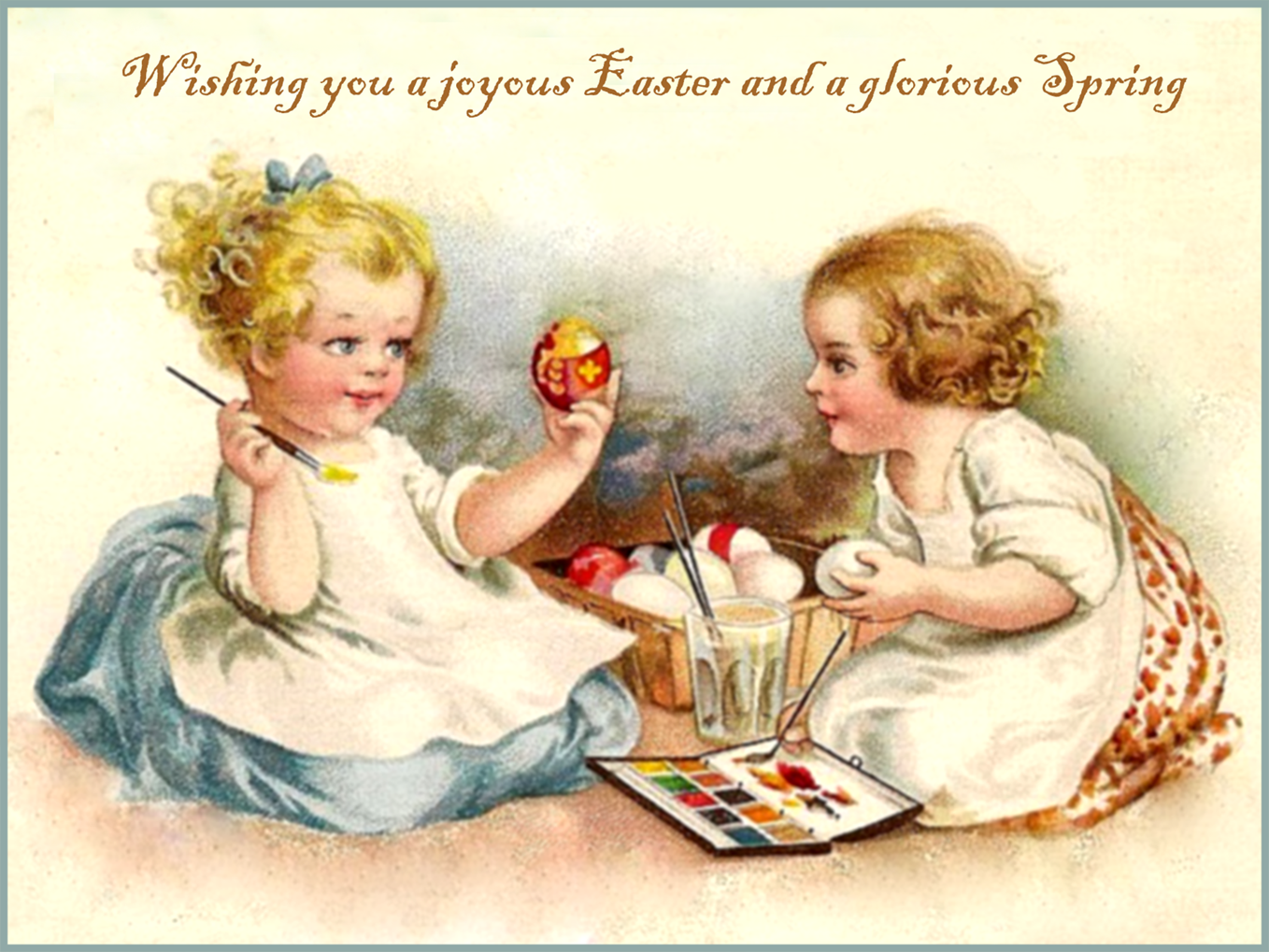 Printable Easter postcard for free with girl painting eggs.