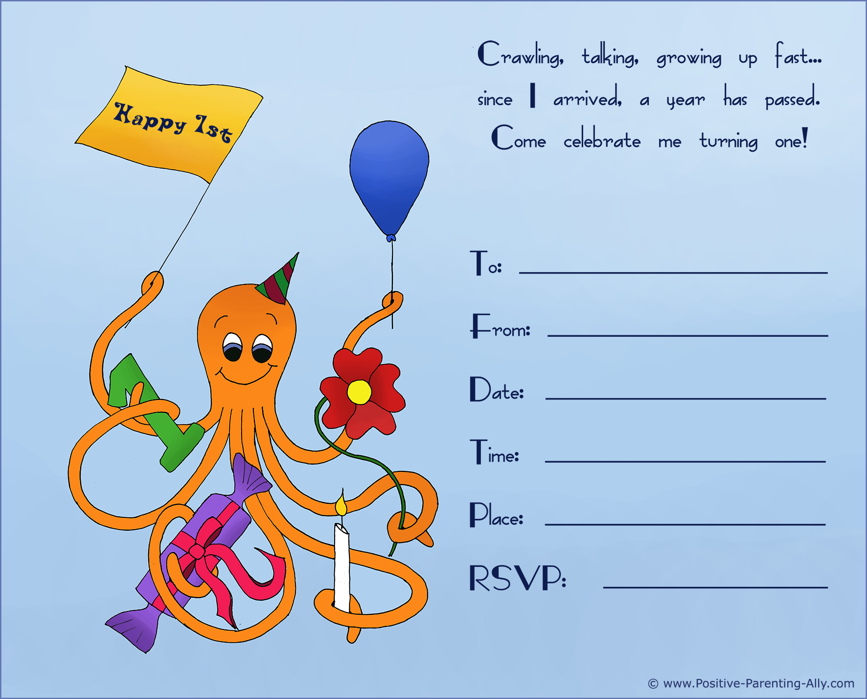 Happy octopus on 1st birthday invitation.