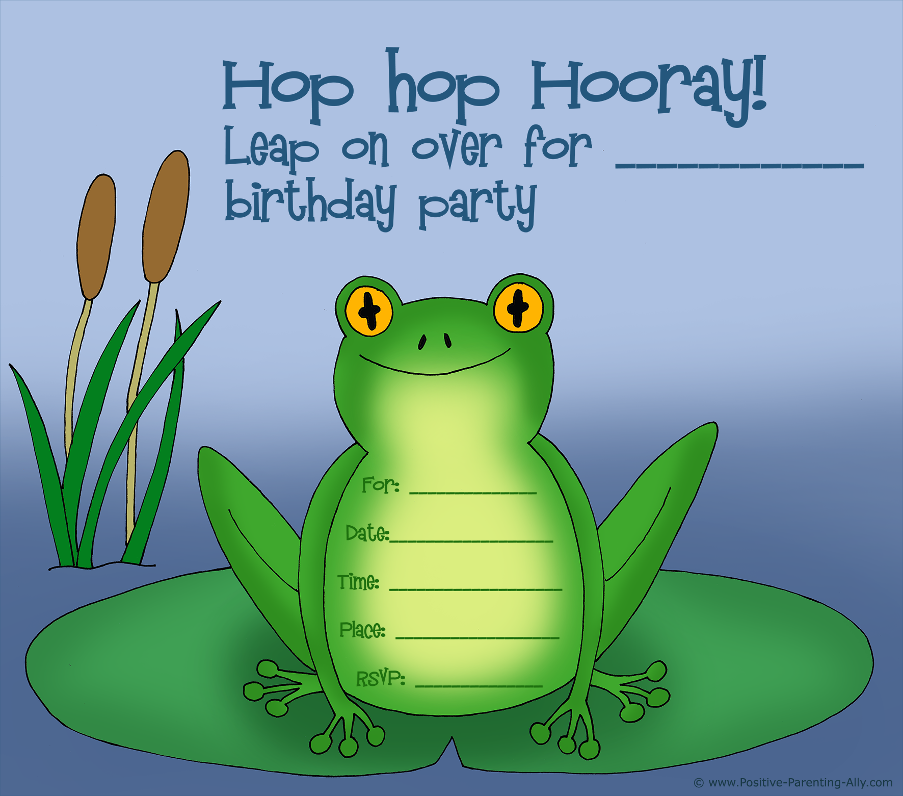 Cute frog birthday invitation for kids.