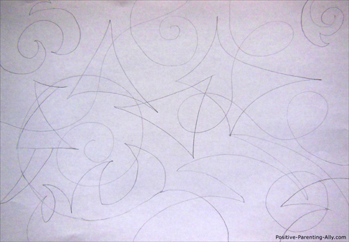 Abstract pencil drawing for kids of geometrical figures.