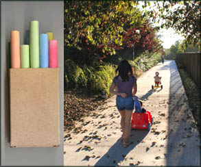Fun outdoor games: Colorful chalk and a little toddler on a tricycle.